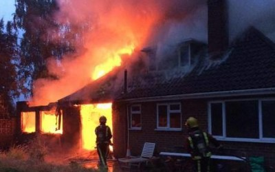 Firefighters battle bungalow fire in Solihull