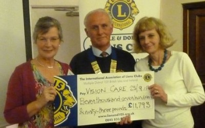 Knowle and Dorridge Lions raise £12k towards the vision care for homeless people