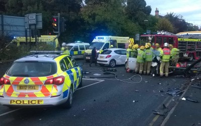 Woman taken to major trauma centre after being trapped in wreckage of car for over an hour